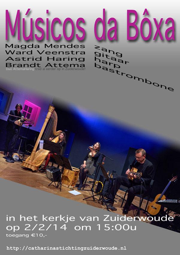 Quartet van zang, gitaar, harp en bastrombone
